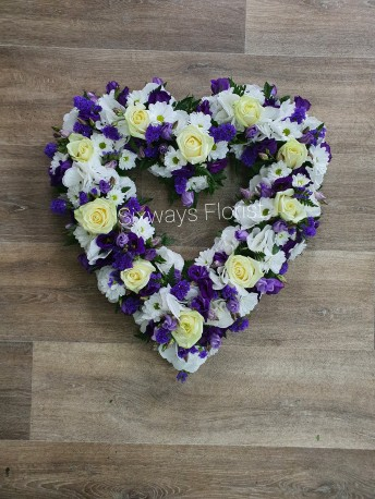 Purple and white open heart