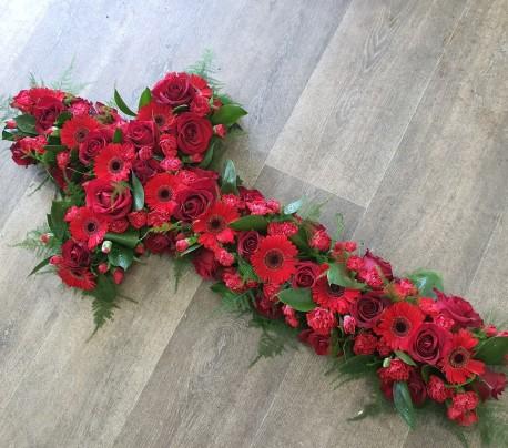 red mixed flower cross