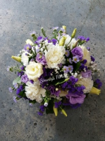 Funeral posy in purple