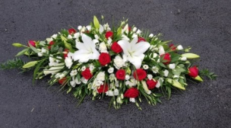 white with red casket