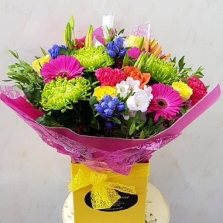 Vivacious....vibrant boxed bouquet