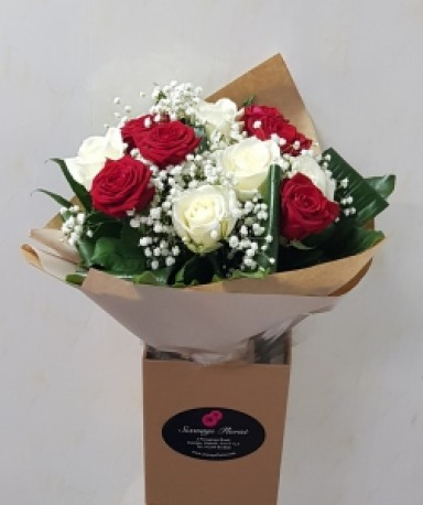 Red and ivory roses