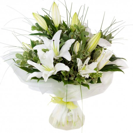 White lilies aqua packed