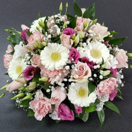 Pink and white funeral posy