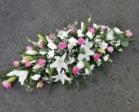 white with pink casket