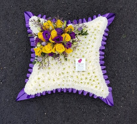Large yellow, purple and white cushion
