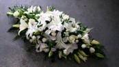 white casket spray