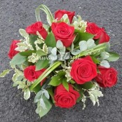 Red rose funeral posy